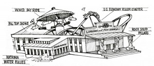 A hilarious rendering of the G.W. Bush Presidential Library. Click for larger image!